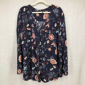Plus Size ULLA POPKEN Blue Floral Henley Shirt